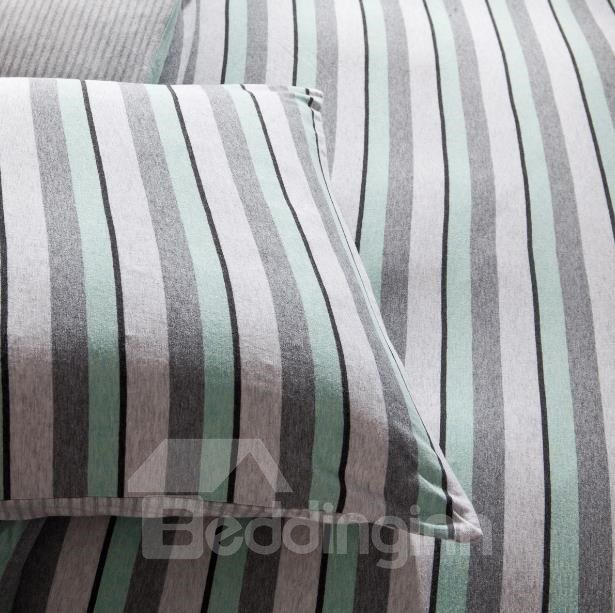 New Arrival Lovely Green Stripes Print Kintting Cotton Bedding Sets with Fitted Sheet