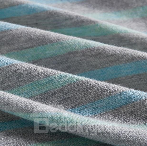 New Arrival Sweet Light Green Stripes Print Kintting Cotton Bedding Sets with Fitted Sheet