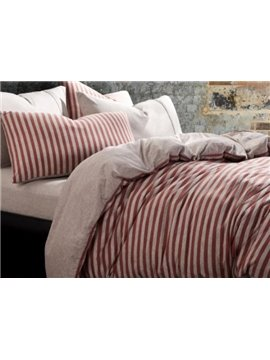 New Arrival Sweet Red Stripes Print Kintting Cotton Bedding Sets with Fitted Sheet