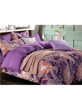 New Arrival Luxurious Floral Patterns Purple Color Kintting Bedding Sets with Fitted Sheet