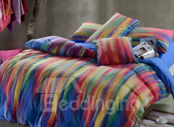 Stylistic Colorful Stripes Print Kintting Bedding Sets with Fitted Sheet