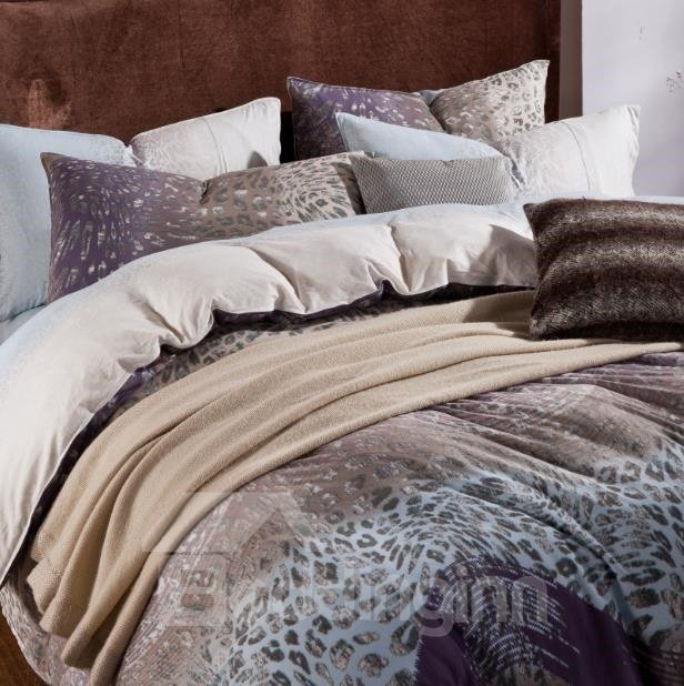 Hot Selling Elegant Purple Color Leopard Print Kintting Bedding Sets with Fitted Sheet
