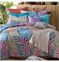 Lovely Colorful Leaves Patterns Comfortable Kintting Bedding Sets with Fitted Sheet