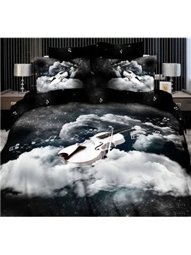 New Arrival Top Class Cotton Angelic Voices 3D Print 4 Piece Bedding Sets