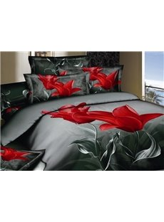 New Arrival Top Class Cotton Skin Care Elegant Tulip Print 4 Piece Bedding Sets