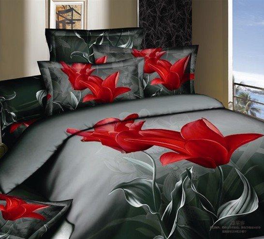 Elegant Tulip 3D Printed 4-Piece Duvet Cover Sets