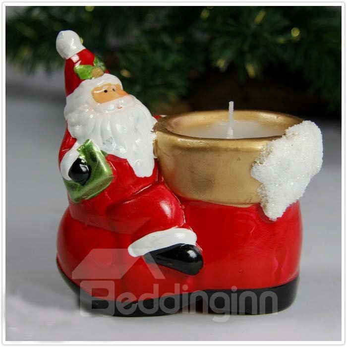 New Arrival Beautiful Santa Claus on the Left Design Candle Holder