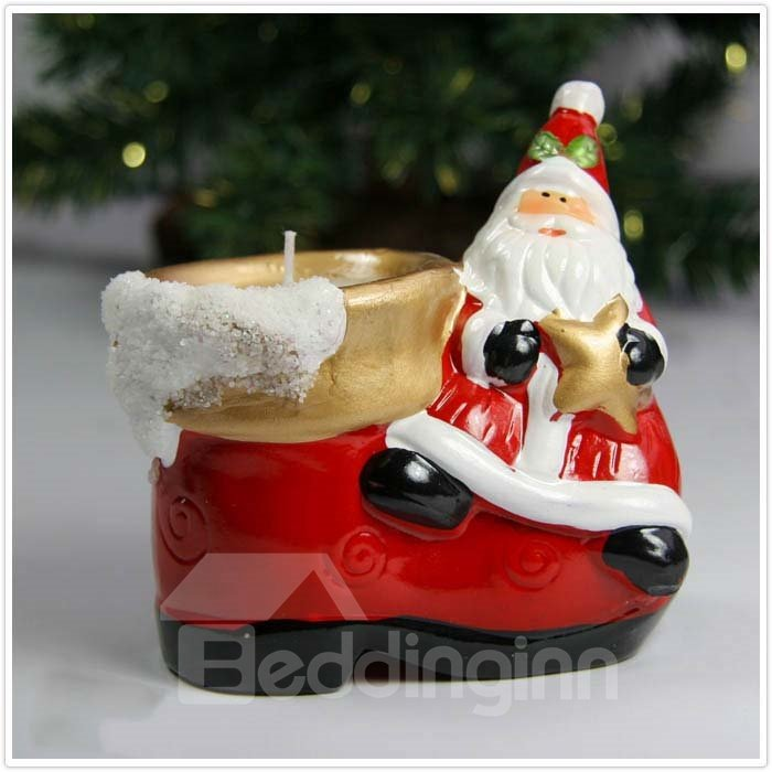 New Arrival Beautiful Santa Claus on the Right Side of Shoe Design Candle Holder
