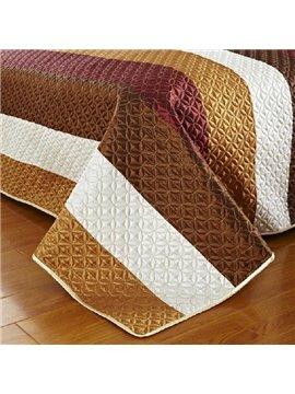 New Arrival Elegant Brown and Golden Stripes 3-piece Bed in a Bag Sets
