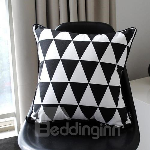 New Arrival Modern Style Black and White Triangles Print Throw Pillowcase