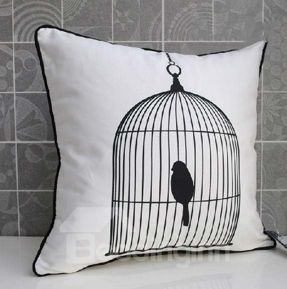 New Arrival Modern Style Bird in a Cage White Color Throw Pillow