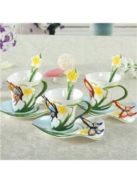 New Arrival Beautiful Butterfly and Flower Style Enamel Porcelain Coffee Cup Sets