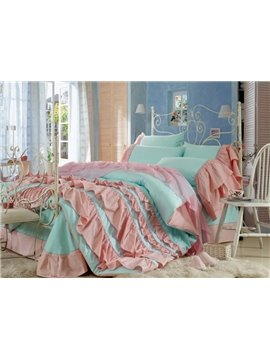 New Arrival Lovely Blue Color Pink Chiffon Floral Borders Bed-skirt 4 Piece Bedding Sets