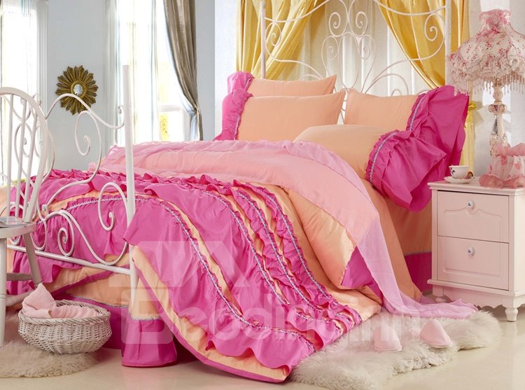 New Arrival Lovely Yellow Color Rose Chiffon Floral Borders 4 Piece Bedding Sets