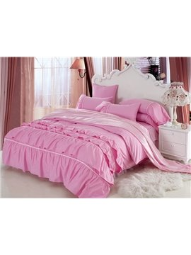 New Arrival Beautiful All Pink Floral Borders Chiffon 4 Piece Bedding Sets