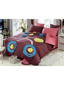 New Arrival Lovely Brown Color Bike Applique Design 6 Piece Bedding Sets with Fitted Sheet