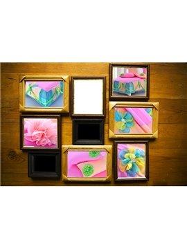 New Arrival Sweet Pink Color Flower Applique Design Bed-skirt 6 Piece Bedding Sets