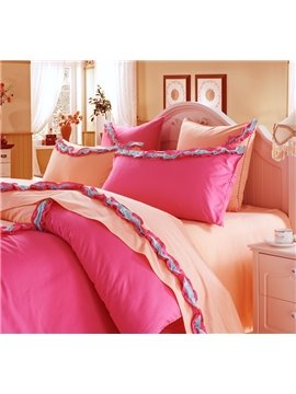 New Arrival Sweet Yellow and Red Color Blue Floral Borders 6 Piece Bedding Sets with Fitted Sheet