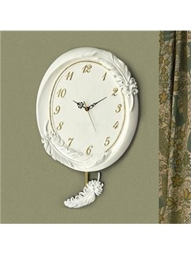 New Arrival European Style Beautiful Feather Design Embossed Wall Clock