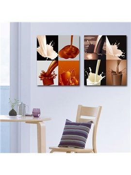 Elegant Pouring Milk and Cocoa Print Cross Film Wall Art Prints