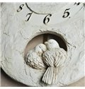 New Arrival Beautiful Love Birds Design White Embossed Wall Clock