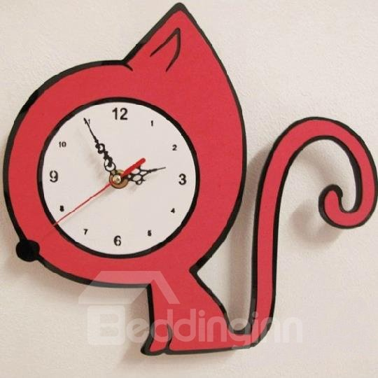 New Arrival Lovely Quiet Red Kitten Design Wall Clock For