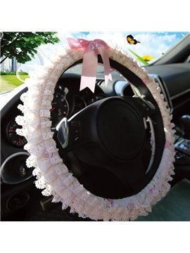 New Arrrival Lovely Princess Style Lace Borders Sterring Wheel Cover