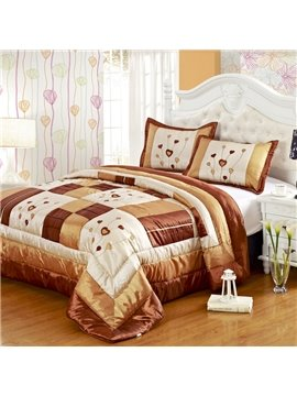 New Arrival Beautiful Heart Balloon Brown Color 3-piece Bed in a Bag Sets