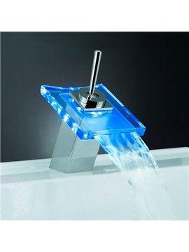 LED Color-changing Temperature Control Luminous Stick Handle Bathroom&Kitchen Faucet