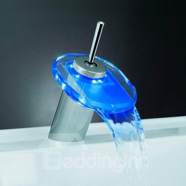 LED Color-changing Temperature Control Luminous Stick Handle Elliptic Bathroom&Kitchen Faucet