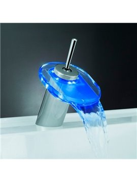 LED Color-changing Temperature Control Luminous Stick Handle Elliptic Bathroom&Kitchen Faucet