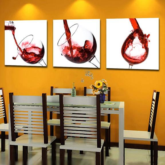 Elegant Red Wine Glass Print 3-Panel Cross Film Wall Art Prints