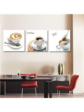 High Quality Elegant Coffee Cup Sets and Letters Print 3-piece Cross Film Wall Art Prints