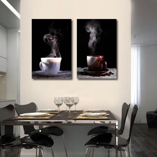 New Arrival Elegant Coffee Cup Print 2-piece Cross Film Black Wall Art Prints