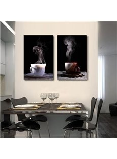 New Arrival Elegant Coffee Cup Print 2-piece Cross Film Black Wall Art Prints