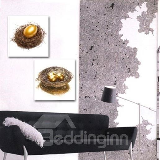 New Arrival Luxurious Golden Egg in Nest Print 2-piece Cross Film Wall Art Prints