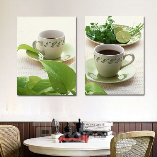 New Arrival Sweet Herbal Tea and Lime Print 2-piece Cross Film Wall Art Prints