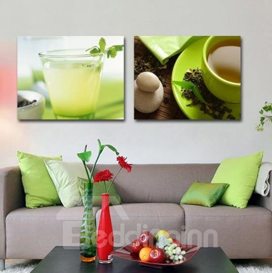 New Arrival Lovely Juice and Tea Print 2-piece Cross Film Green Wall Art Prints