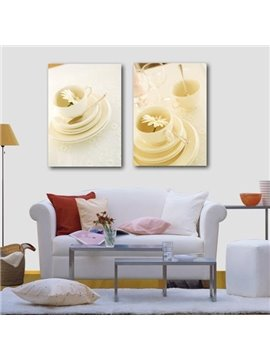 New Arrival Beautiful Herbal Tea and Tea Cup Sets Print 2-piece Cross Film Wall Art Prints