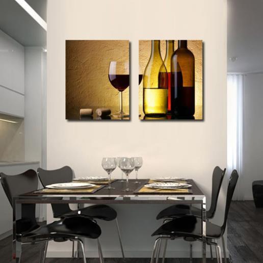 Elegant Red Wine and Wine Glass Print 2-piece Cross Film Wall Art Prints