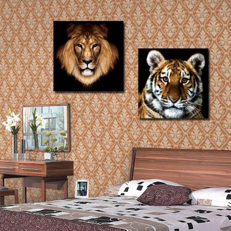 Lifelike Tiger and Lion Print 2-piece Cross Film Wall Art Prints