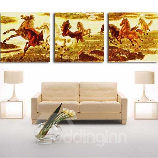 New Arrival Beautiful Running Horses Herd Print 3-piece Cross Film Wall Art Prints