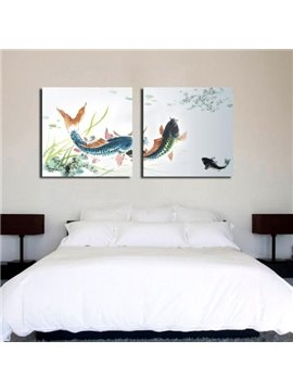 New Arrival Lovely Carp in the River Print 2-piece Cross Film Wall Art Prints