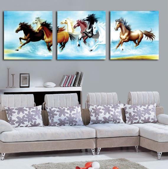 Galloping Horses Print 3-piece Cross Film Wall Art Prints
