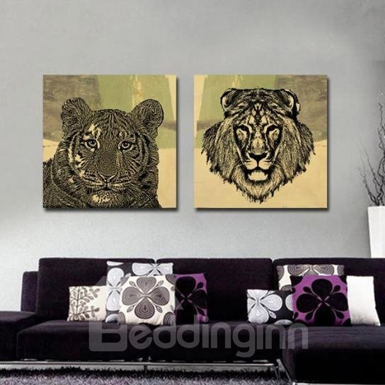 New Arrival Beautiful Tiger and Lion Head Portrait Print 2-piece Cross Film Wall Art Prints