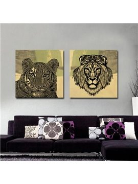 New Arrival Beautiful Tiger and Lion Head Portrait Print 2-piece Cross Film Wall Art Prints