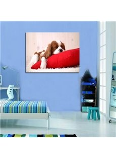 New Arrival Cute Puppy on the Cushion Print Cross Film Wall Art Prints