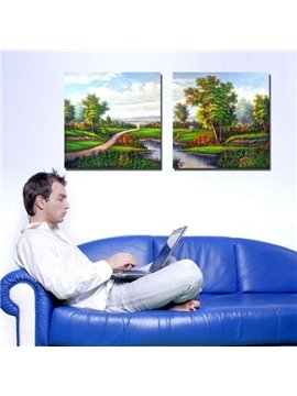 New Arrival Beautiful Country Scenery Print 2-piece Cross Film Wall Art Prints