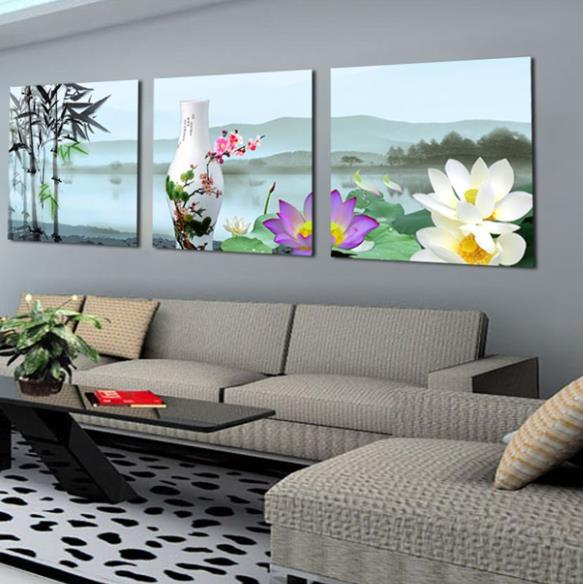 New Arrival Lovely Lifelike Lotus and Vase Print 3-piece Cross Film Wall Art Prints