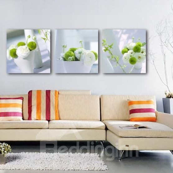 New Arrival Beautiful White and Green Flowers in the Vase Print 3-piece Cross Film Wall Art Prints 10861939
